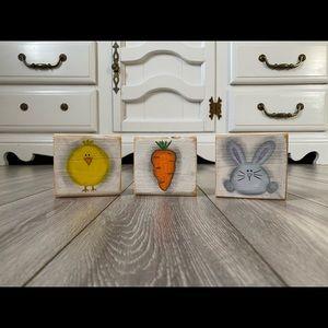Farmhouse Easter bunny, carrot, chicken blocks set